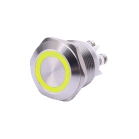 PULSANTE ANTIVANDALO LUMINOSO LED GIALLO 19 MM 12V