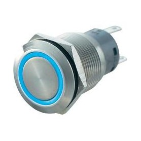 PULSANTE ANTIVANDALO LUMINOSO LED BLU 19 MM 12V
