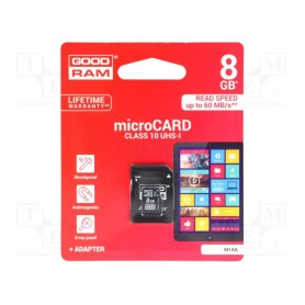 MICRO SD CARD 8 GB C10 CON ADATTATORE SD GOOD RAM
