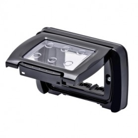 PLACCA STAGNA IP55 3 POSTI NERO TONER